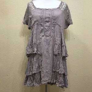 Free People Lace Raw Edge Dress Size Large